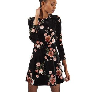 Topshop Black Velvet Long Sleeve Floral Dress